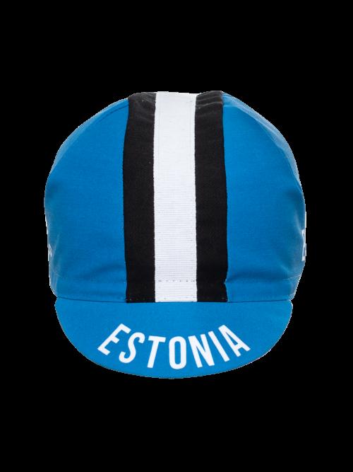 Eesti maanteeratturite koondise klassikaline ja funktsionaalne nokamüts rattakiivri alla